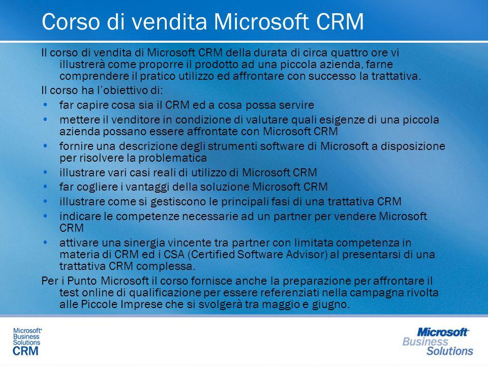 Corso di vendita Microsoft CRM