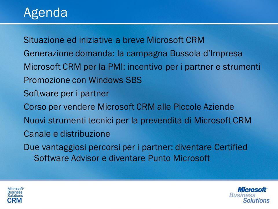 Agenda Situazione ed iniziative a breve Microsoft CRM