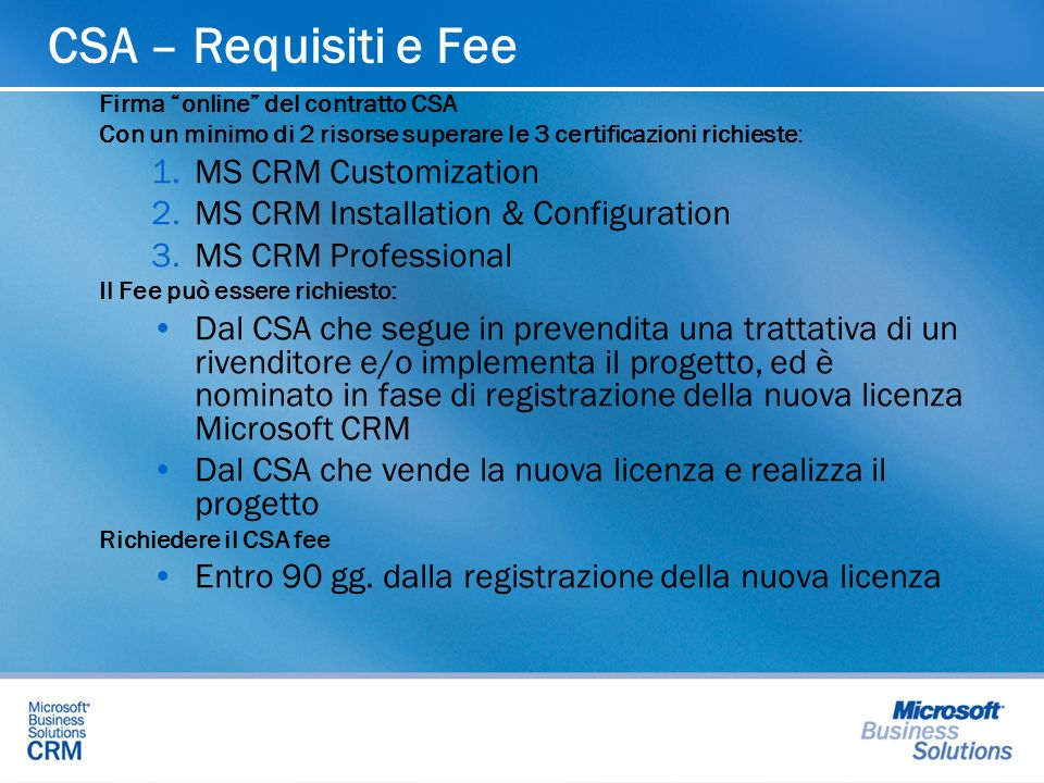CSA – Requisiti e Fee MS CRM Customization