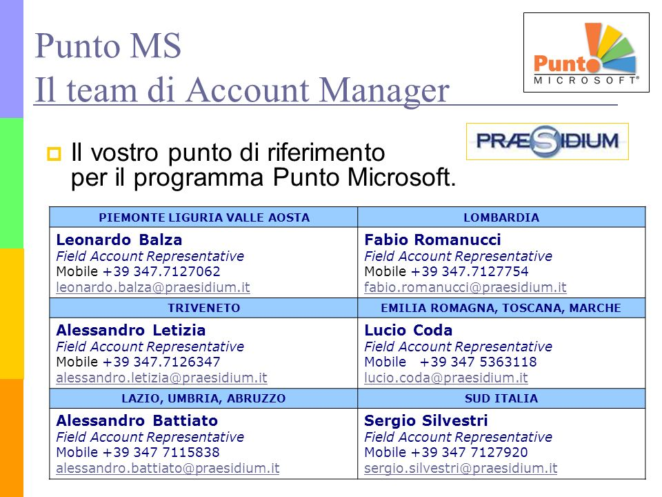Punto MS Il team di Account Manager