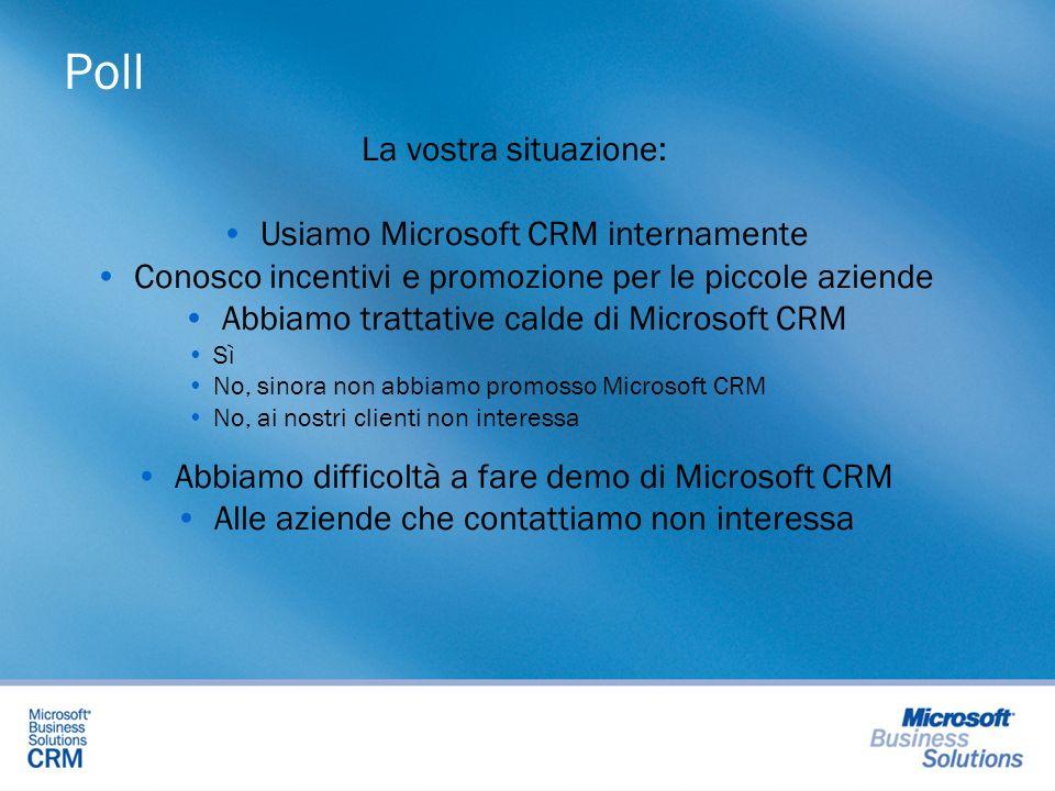 Poll La vostra situazione: Usiamo Microsoft CRM internamente