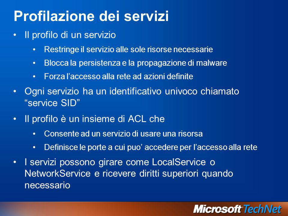 Profilazione dei servizi