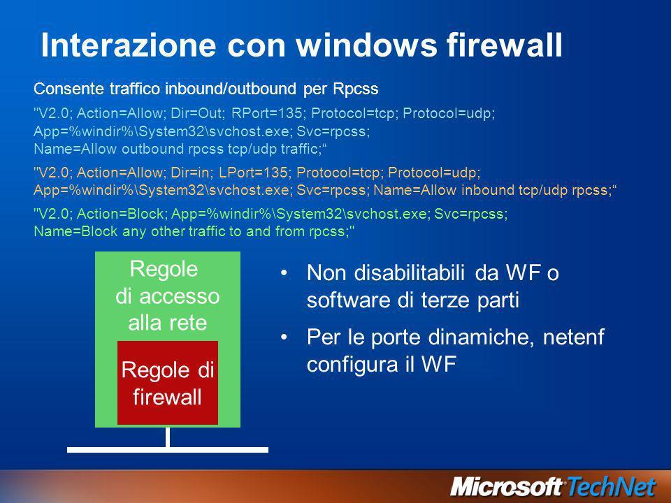 Interazione con windows firewall