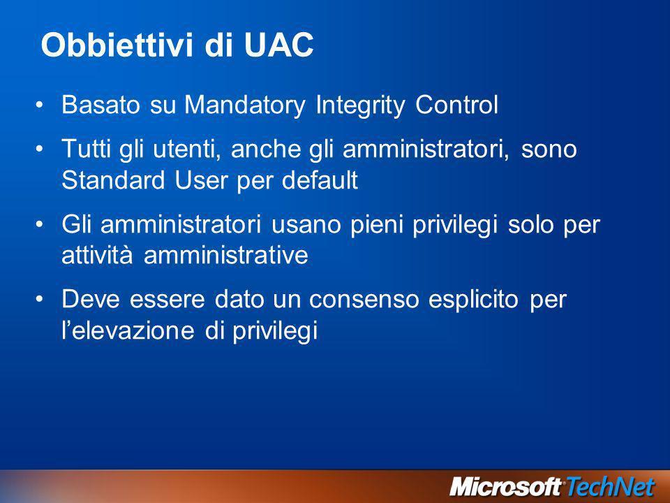 Obbiettivi di UAC Basato su Mandatory Integrity Control