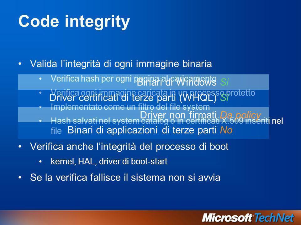 Code integrity Valida l'integrità di ogni immagine binaria