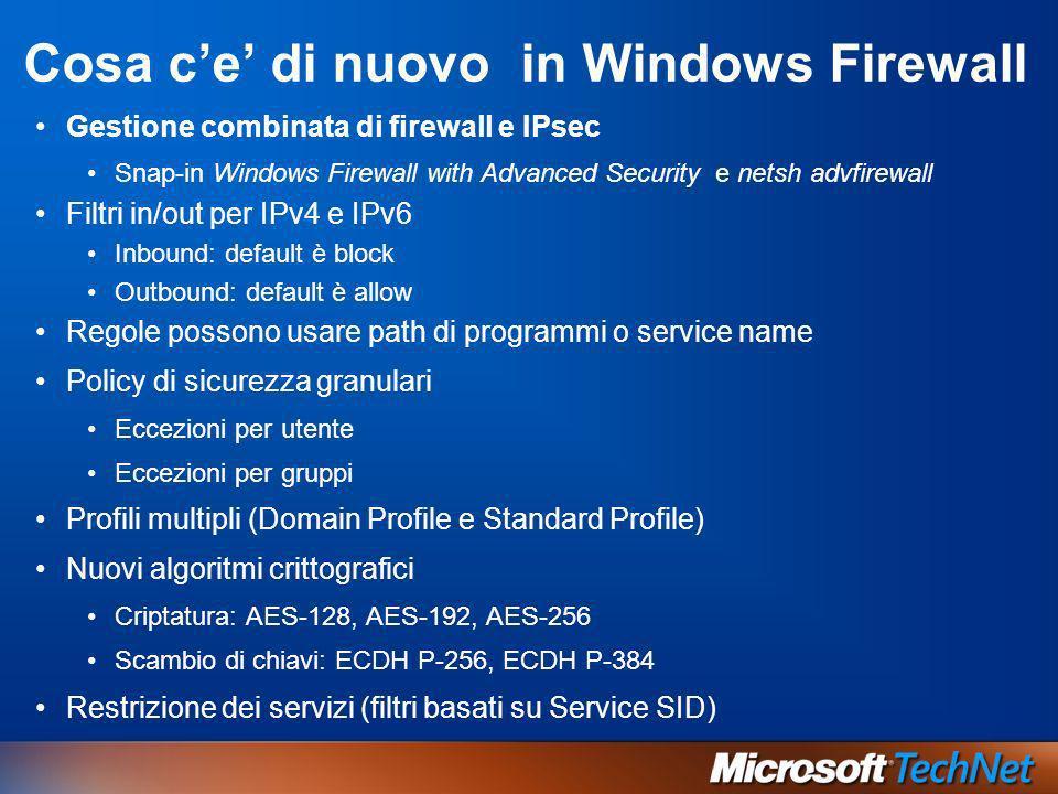 Cosa c'e' di nuovo in Windows Firewall