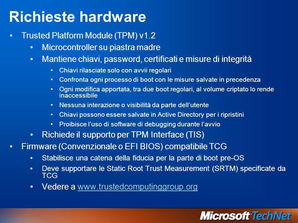 Richieste hardware Trusted Platform Module (TPM) v1.2