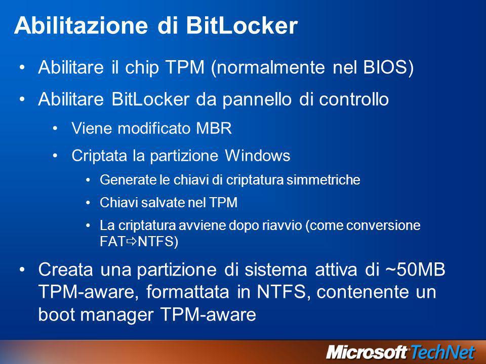 Abilitazione di BitLocker