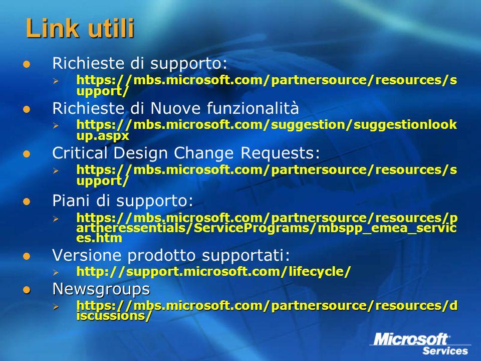 Link utili Richieste di supporto: Richieste di Nuove funzionalità