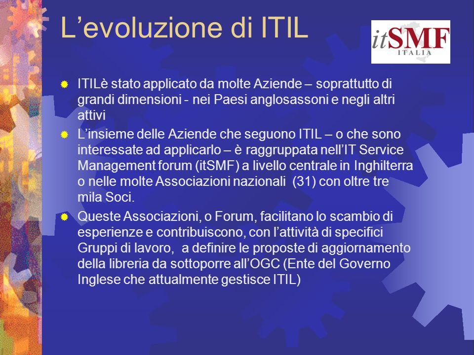 L'evoluzione di ITIL ITILè stato applicato da molte Aziende – soprattutto di grandi dimensioni - nei Paesi anglosassoni e negli altri attivi.
