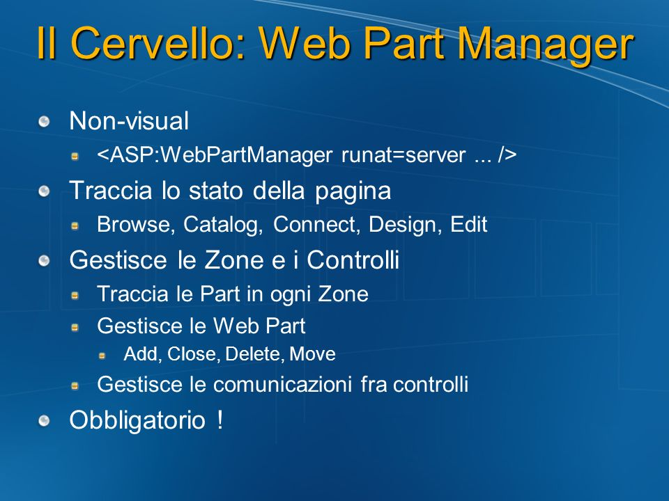 Il Cervello: Web Part Manager