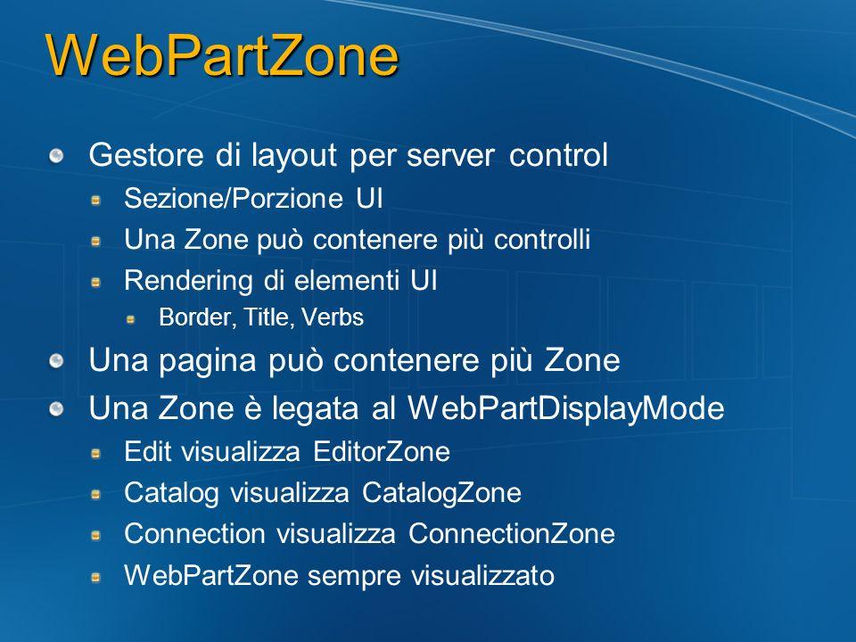 WebPartZone Gestore di layout per server control