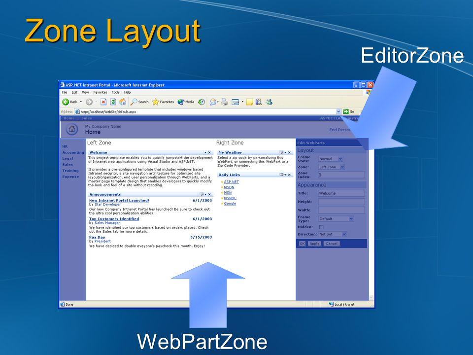 Zone Layout EditorZone WebPartZone
