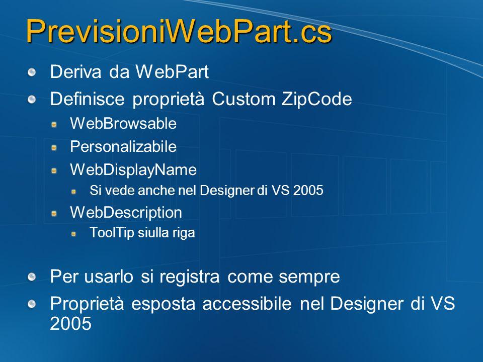 PrevisioniWebPart.cs Deriva da WebPart