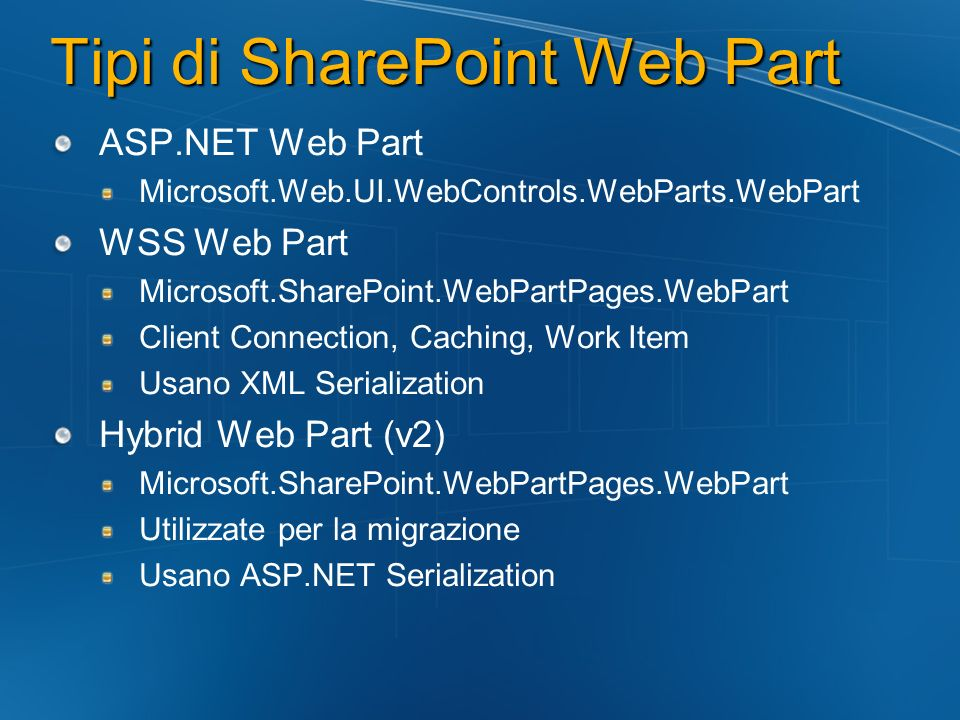 Tipi di SharePoint Web Part