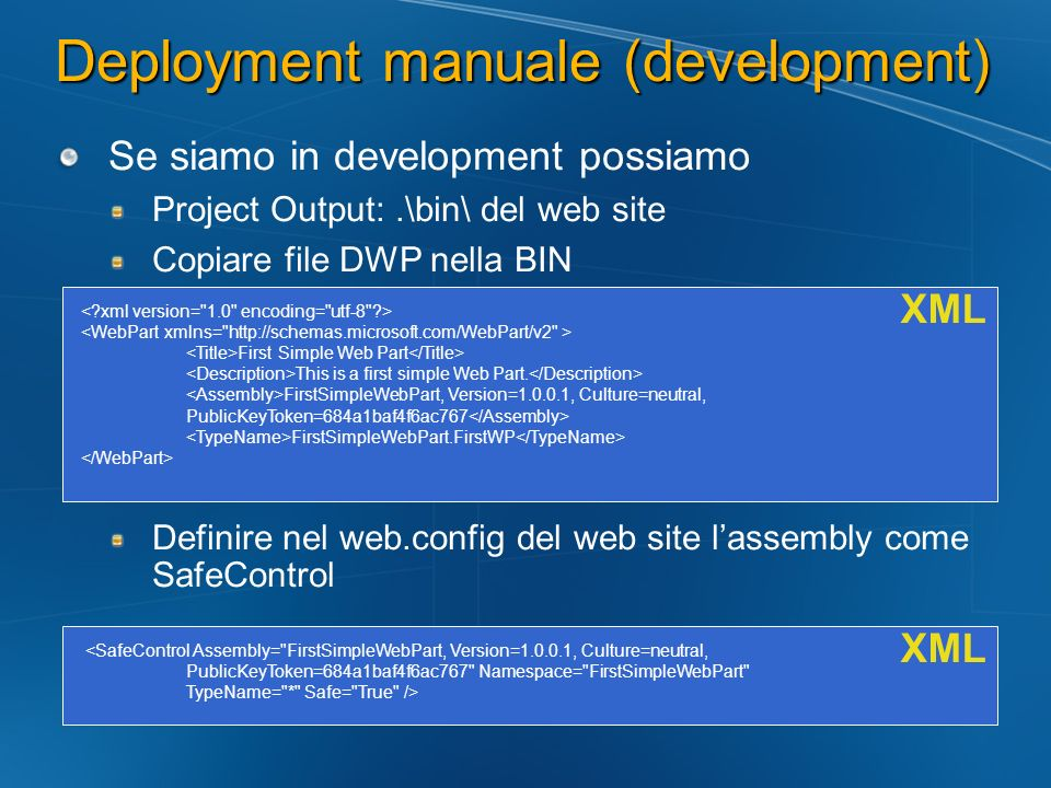 Deployment manuale (development)