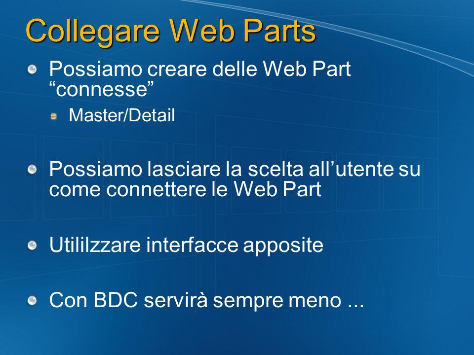 Collegare Web Parts Possiamo creare delle Web Part connesse