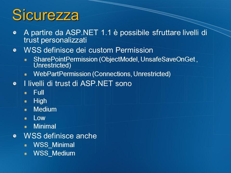 Sicurezza A partire da ASP.NET 1.1 è possibile sfruttare livelli di trust personalizzati. WSS definisce dei custom Permission.