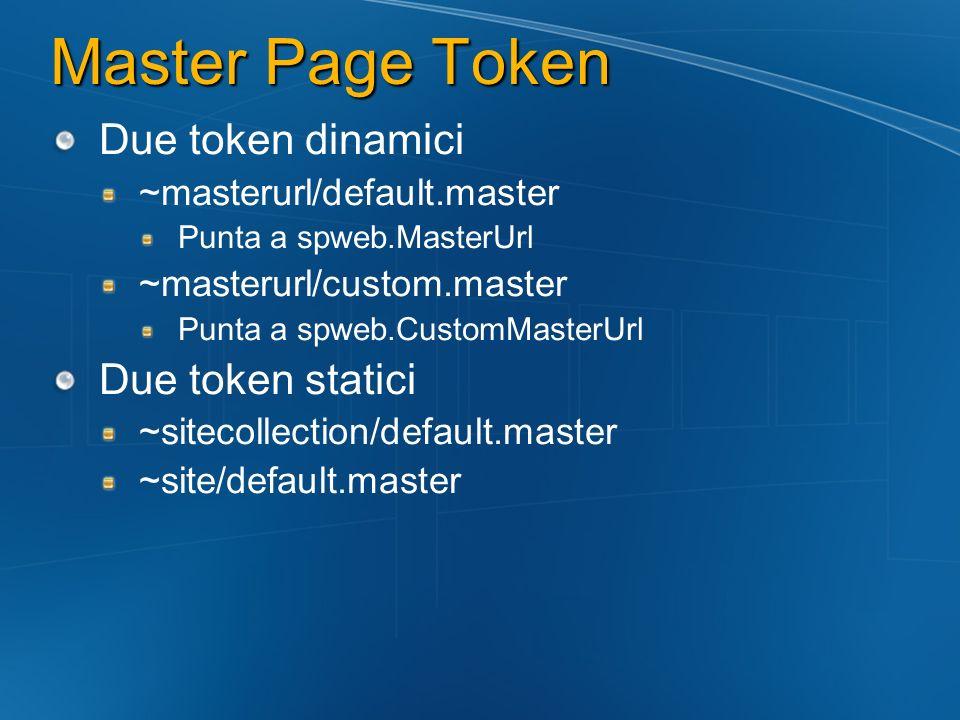 Master Page Token Due token dinamici Due token statici
