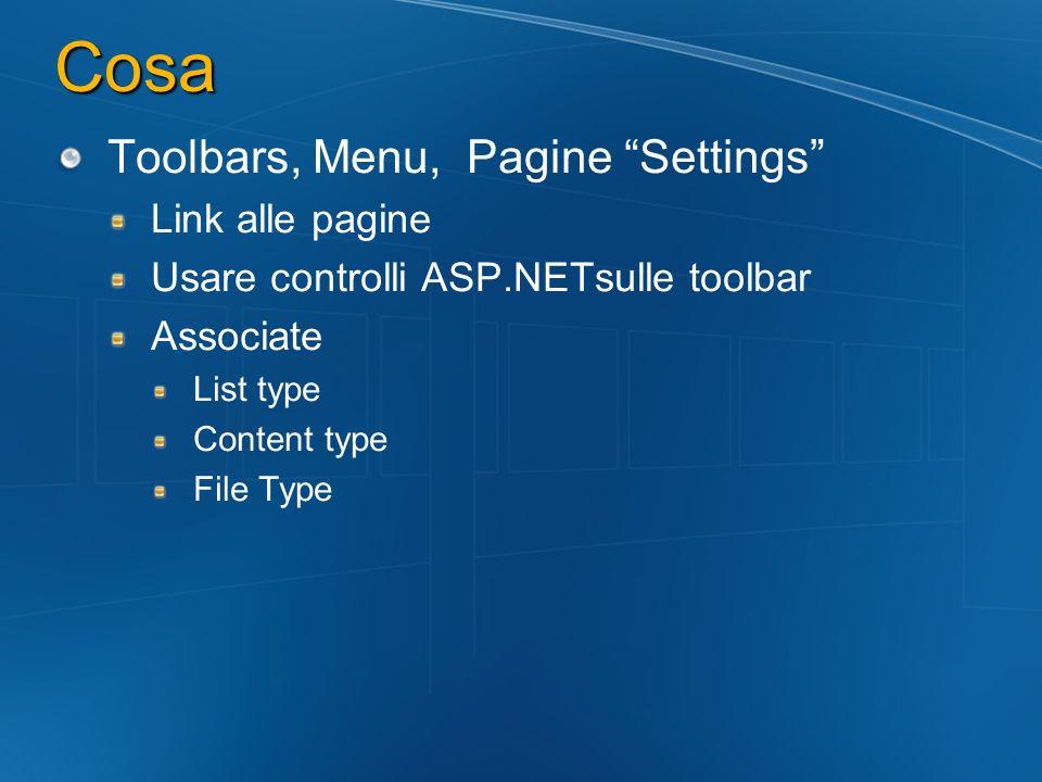 Cosa Toolbars, Menu, Pagine Settings Link alle pagine