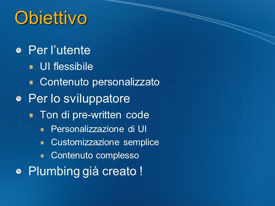 Obiettivo Per l'utente Per lo sviluppatore Plumbing già creato !