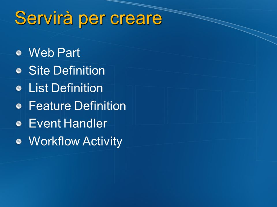 Servirà per creare Web Part Site Definition List Definition
