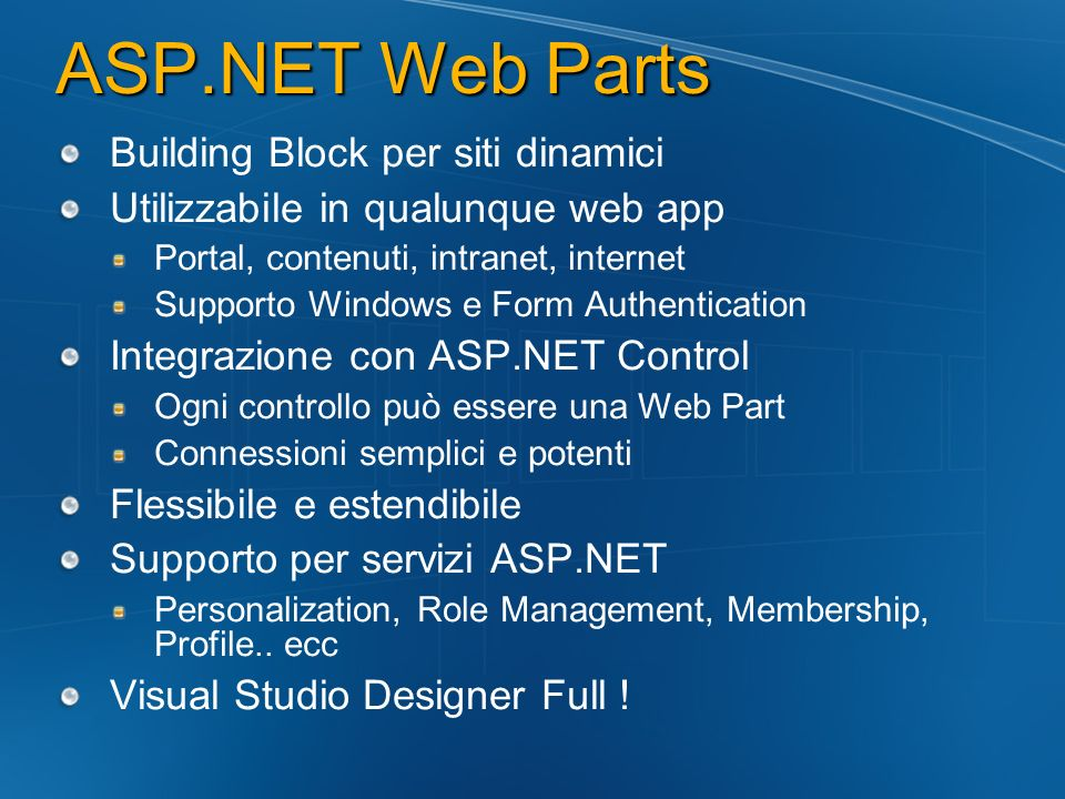 ASP.NET Web Parts Building Block per siti dinamici