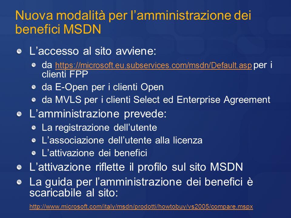 Nuova modalità per l'amministrazione dei benefici MSDN