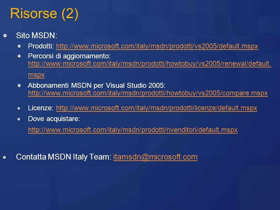 Risorse (2) Sito MSDN: Contatta MSDN Italy Team: itamsdn@microsoft.com