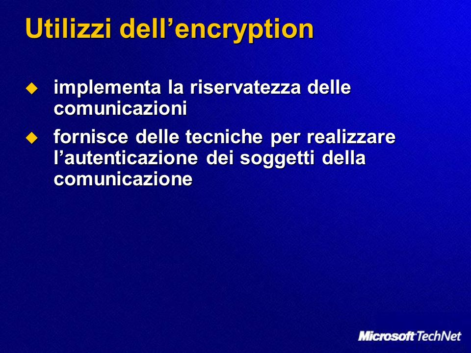 Utilizzi dell'encryption
