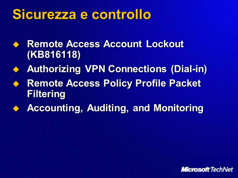 Sicurezza e controllo Remote Access Account Lockout (KB816118)
