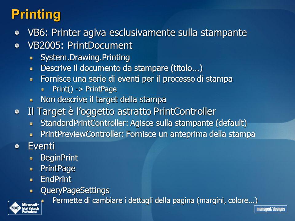Printing VB6: Printer agiva esclusivamente sulla stampante