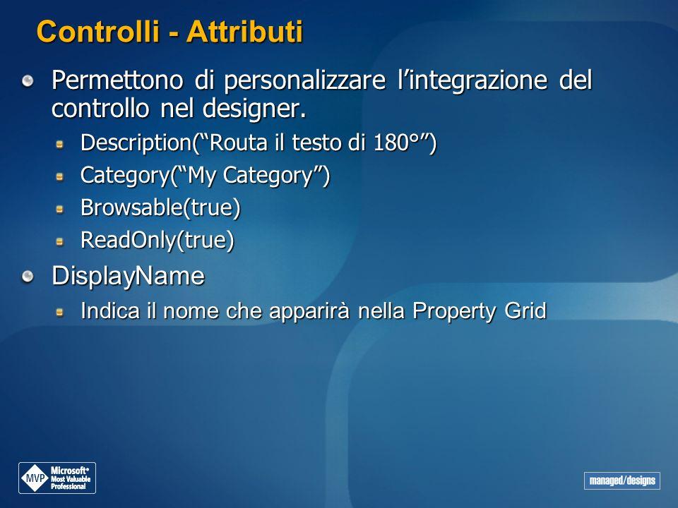 Controlli - Attributi Permettono di personalizzare l'integrazione del controllo nel designer. Description( Routa il testo di 180° )