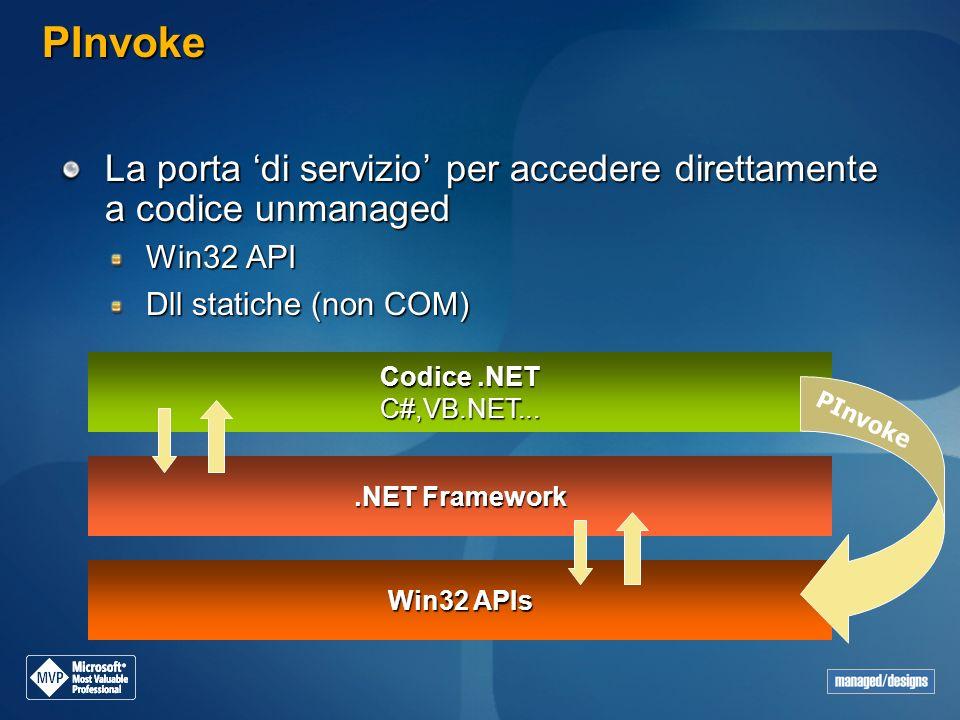PInvoke La porta 'di servizio' per accedere direttamente a codice unmanaged. Win32 API. Dll statiche (non COM)