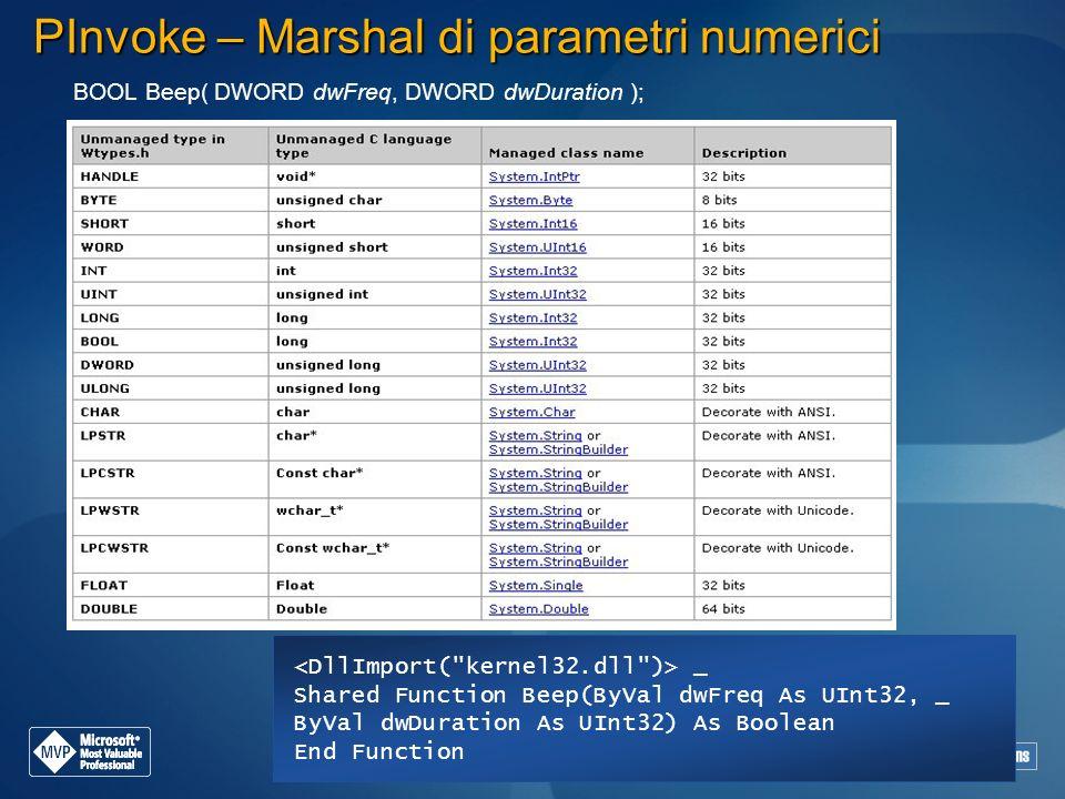 PInvoke – Marshal di parametri numerici