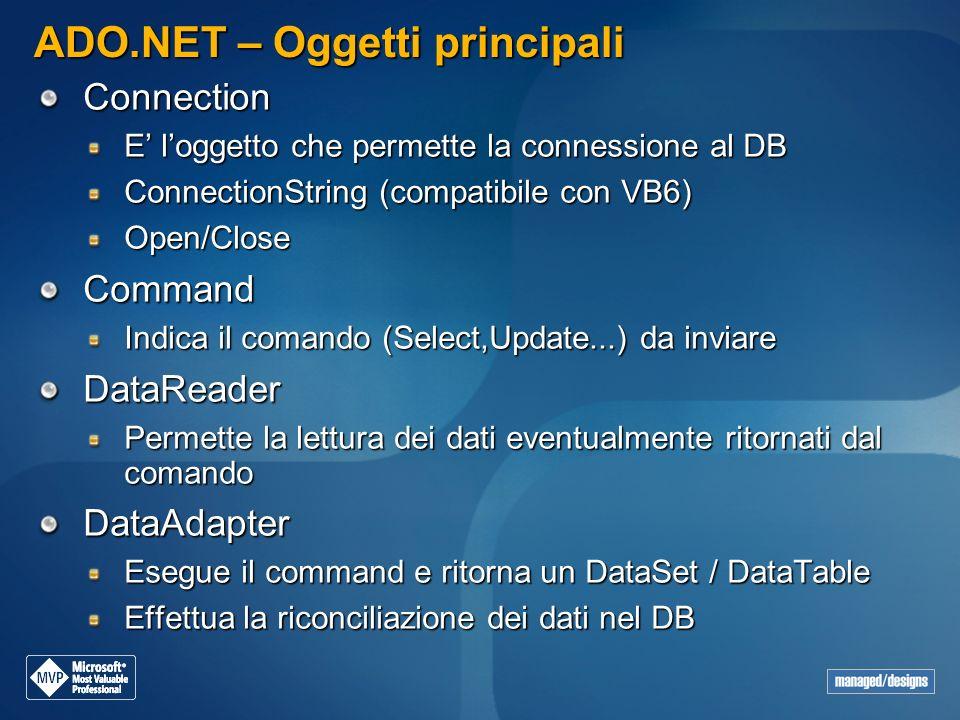 ADO.NET – Oggetti principali