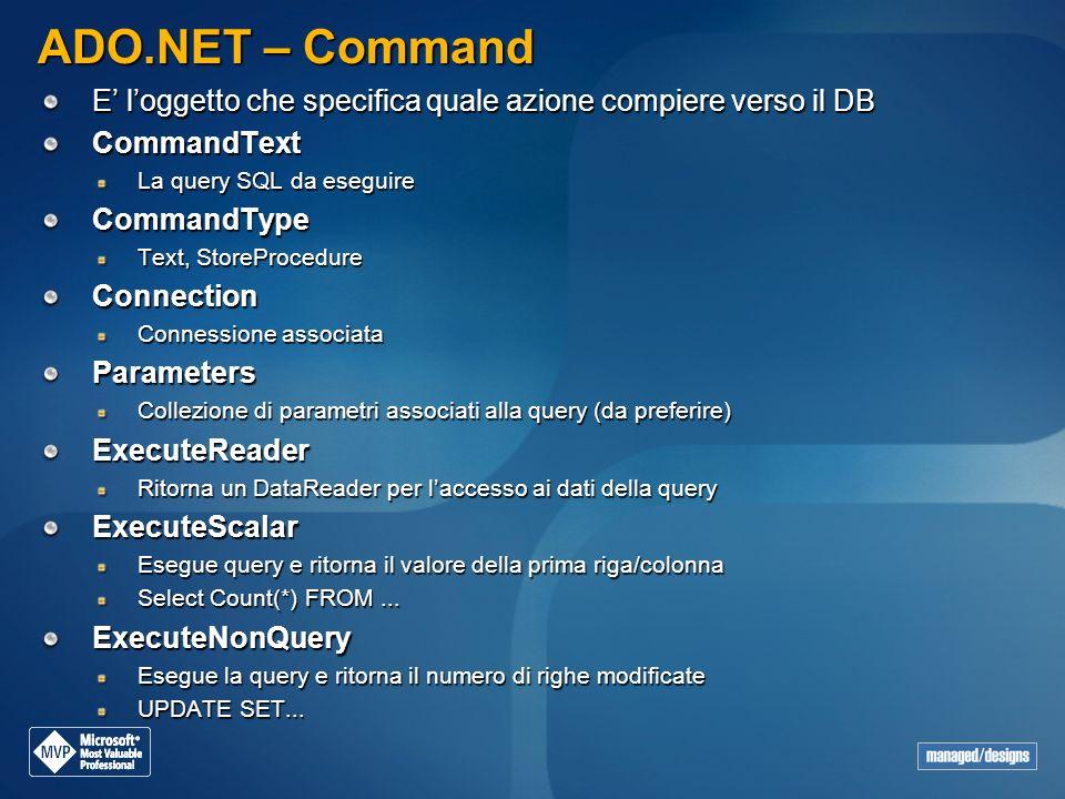ADO.NET – Command E' l'oggetto che specifica quale azione compiere verso il DB. CommandText. La query SQL da eseguire.