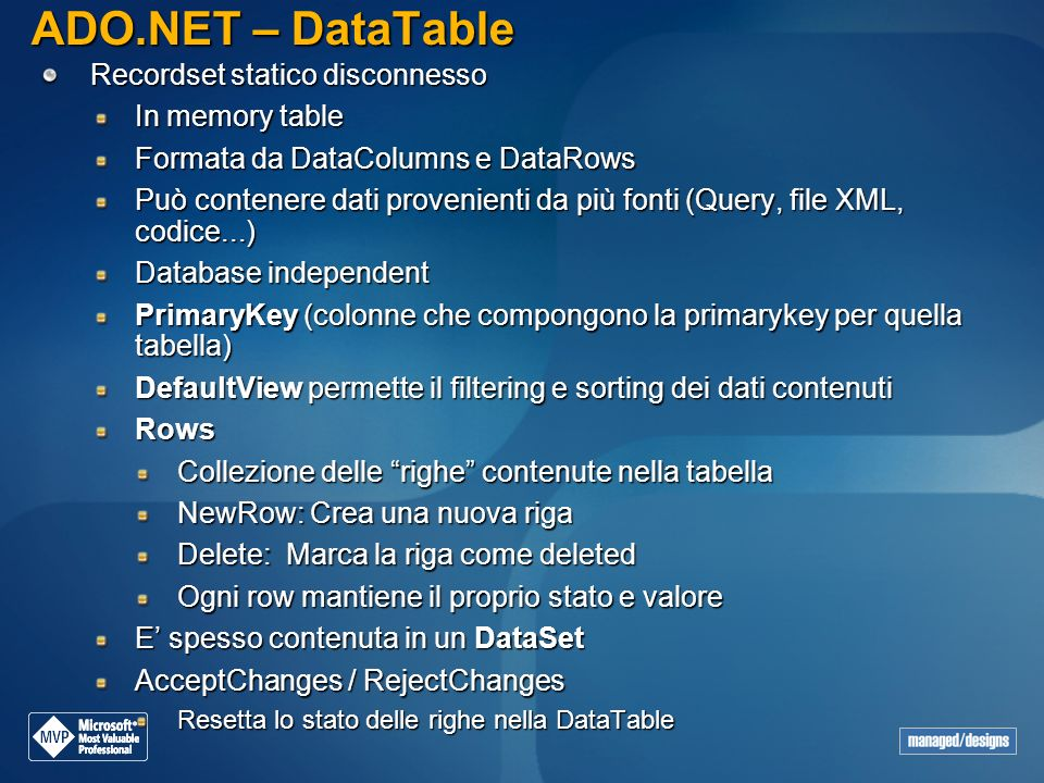 ADO.NET – DataTable Recordset statico disconnesso In memory table