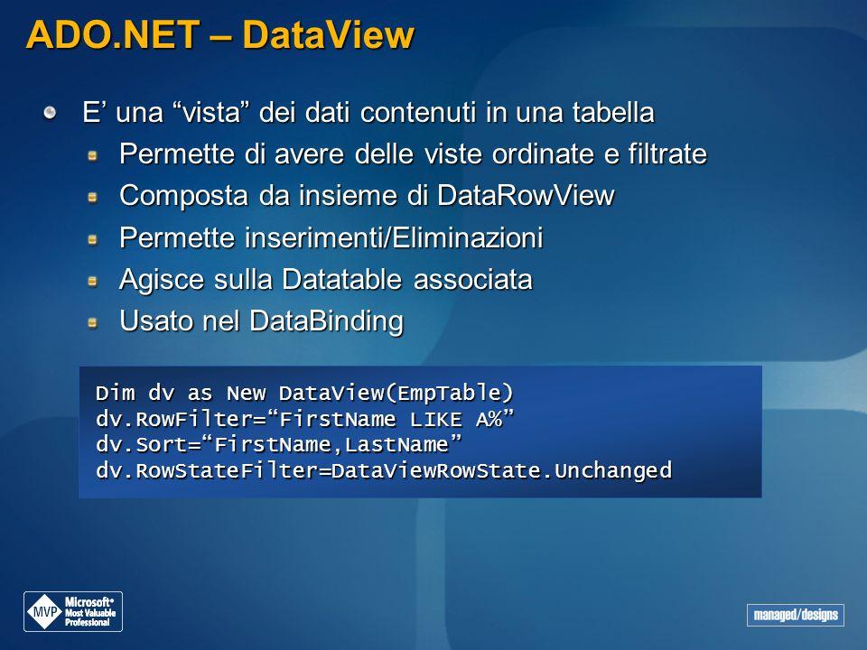 ADO.NET – DataView E' una vista dei dati contenuti in una tabella