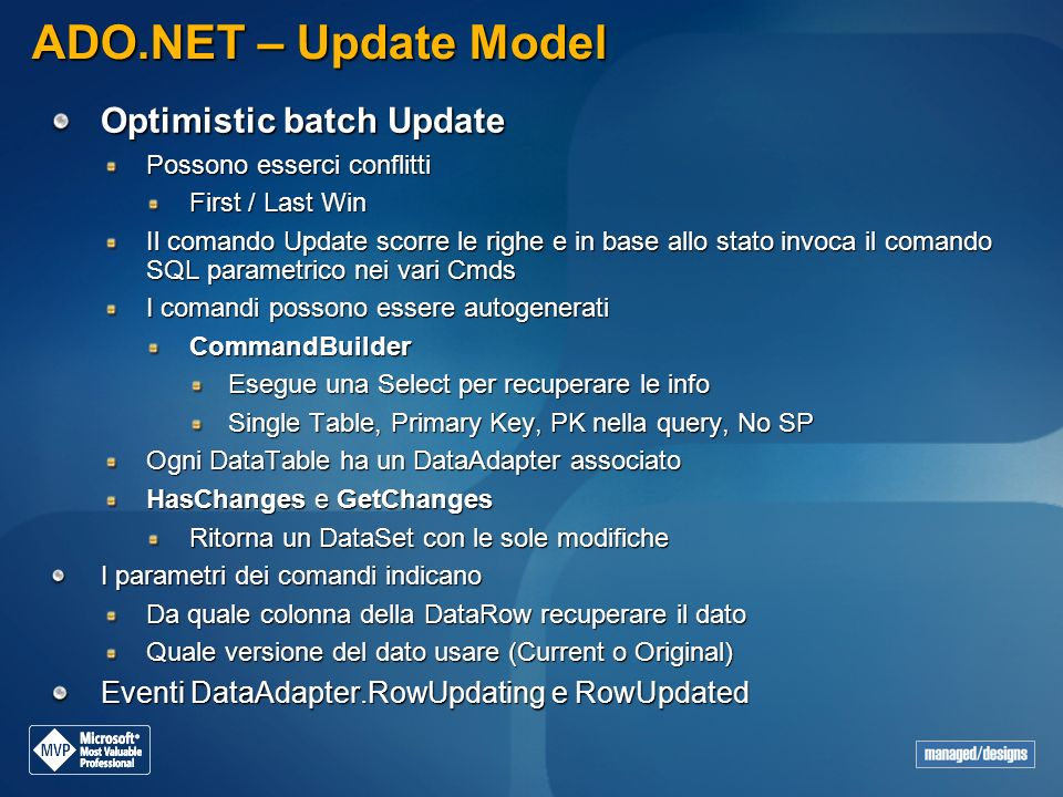 ADO.NET – Update Model Optimistic batch Update
