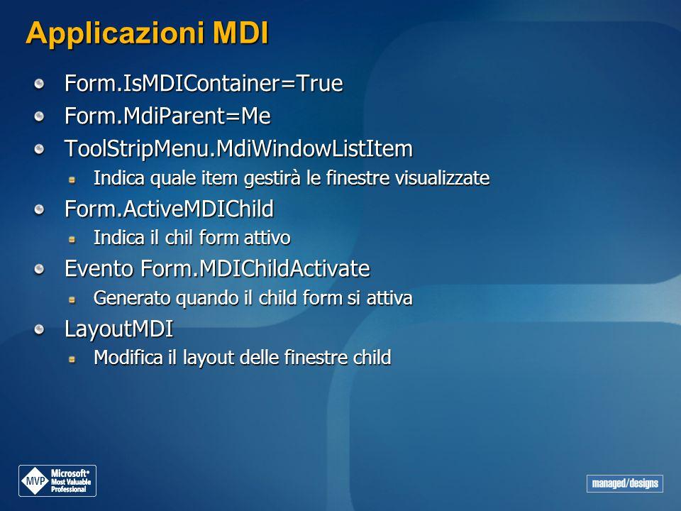 Applicazioni MDI Form.IsMDIContainer=True Form.MdiParent=Me