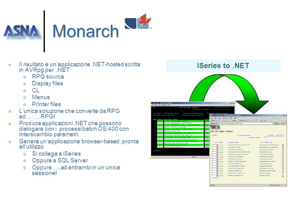 Monarch Il risultato è un'applicazione .NET-hosted scritta in AVRpg per .NET. RPG source. Display files.