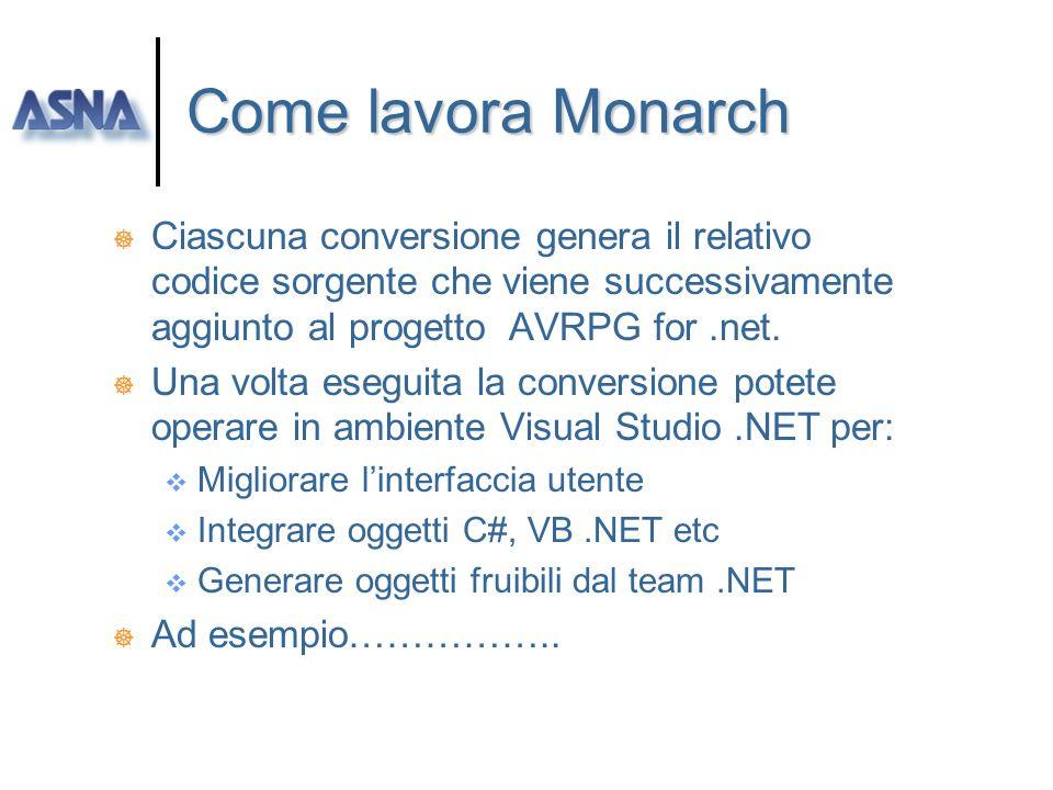 Come lavora Monarch Ciascuna conversione genera il relativo codice sorgente che viene successivamente aggiunto al progetto AVRPG for .net.