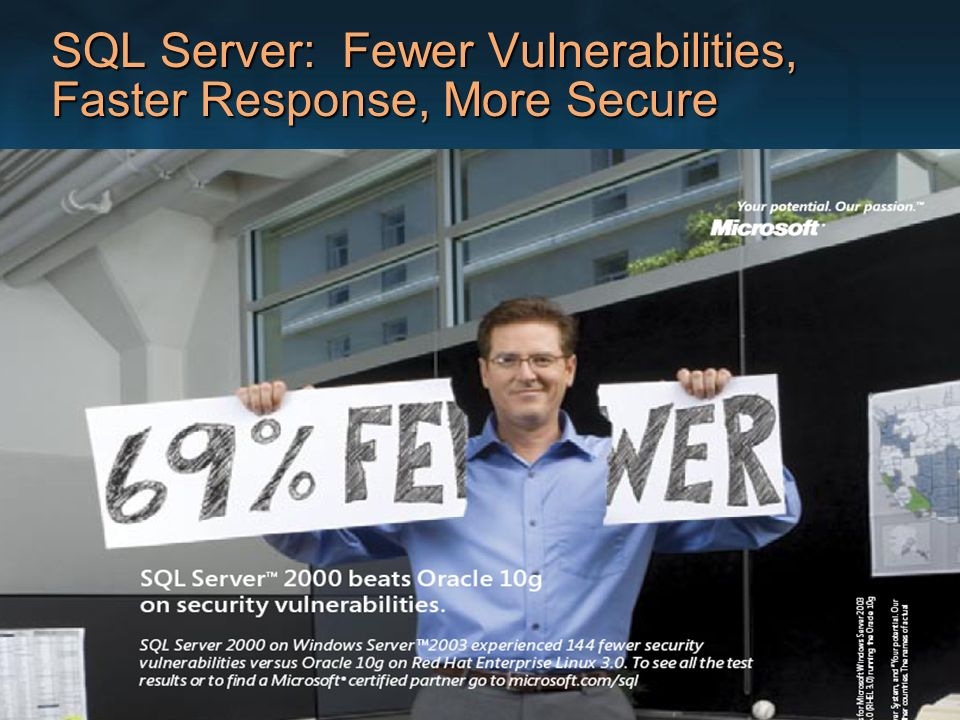 SQL Server: Fewer Vulnerabilities, Faster Response, More Secure