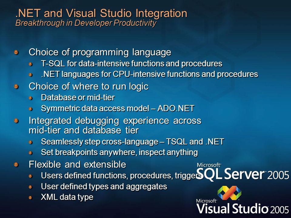 3/27/2017 2:28 AM .NET and Visual Studio Integration Breakthrough in Developer Productivity. Choice of programming language.