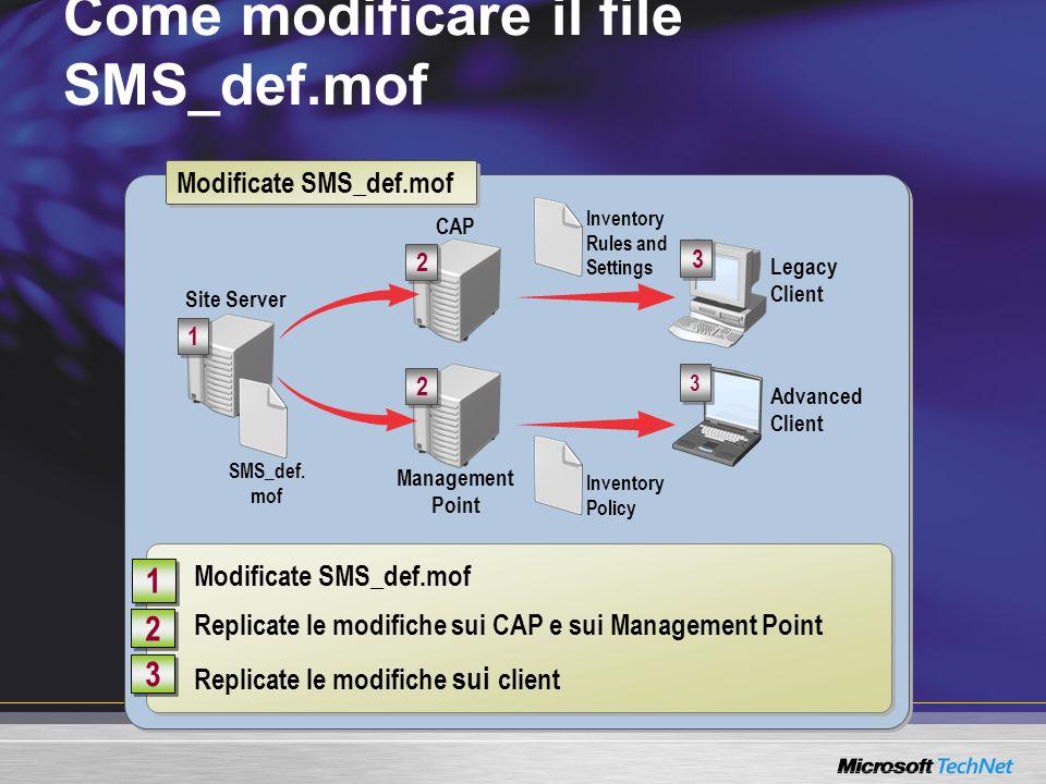 Come modificare il file SMS_def.mof