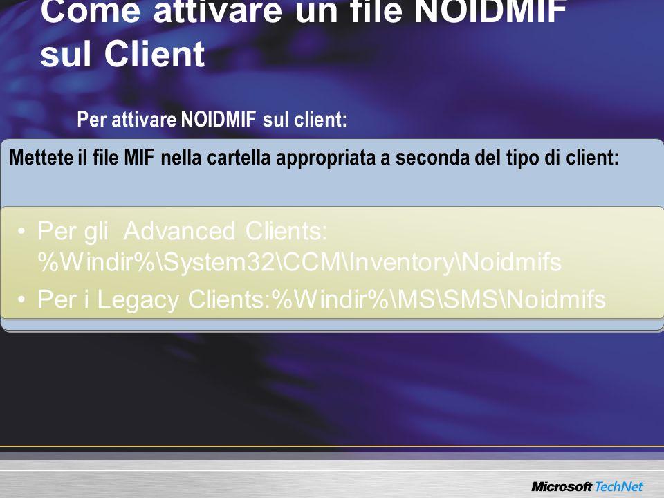 Come attivare un file NOIDMIF sul Client