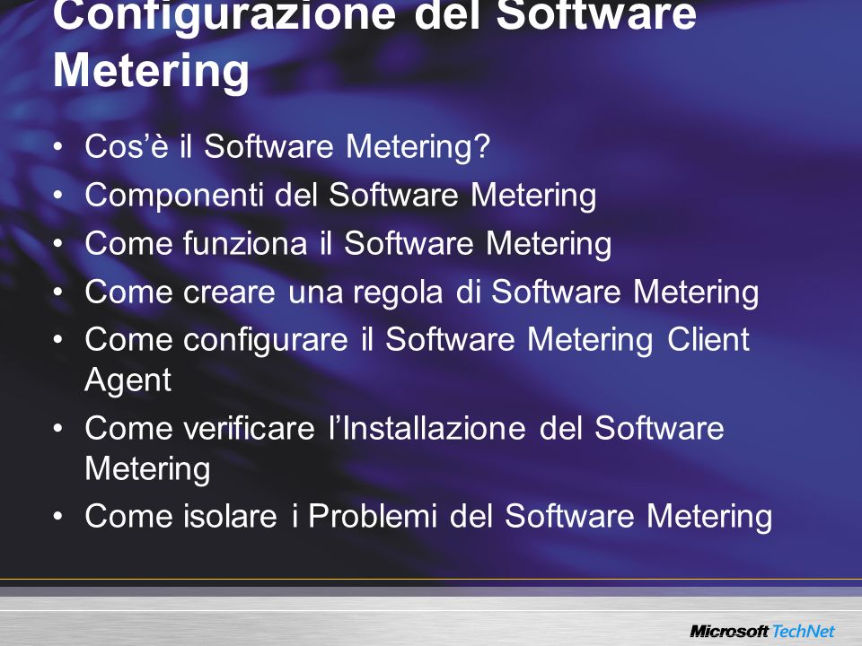 Configurazione del Software Metering