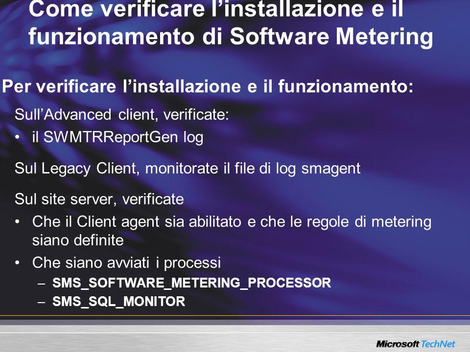 Come verificare l'installazione e il funzionamento di Software Metering