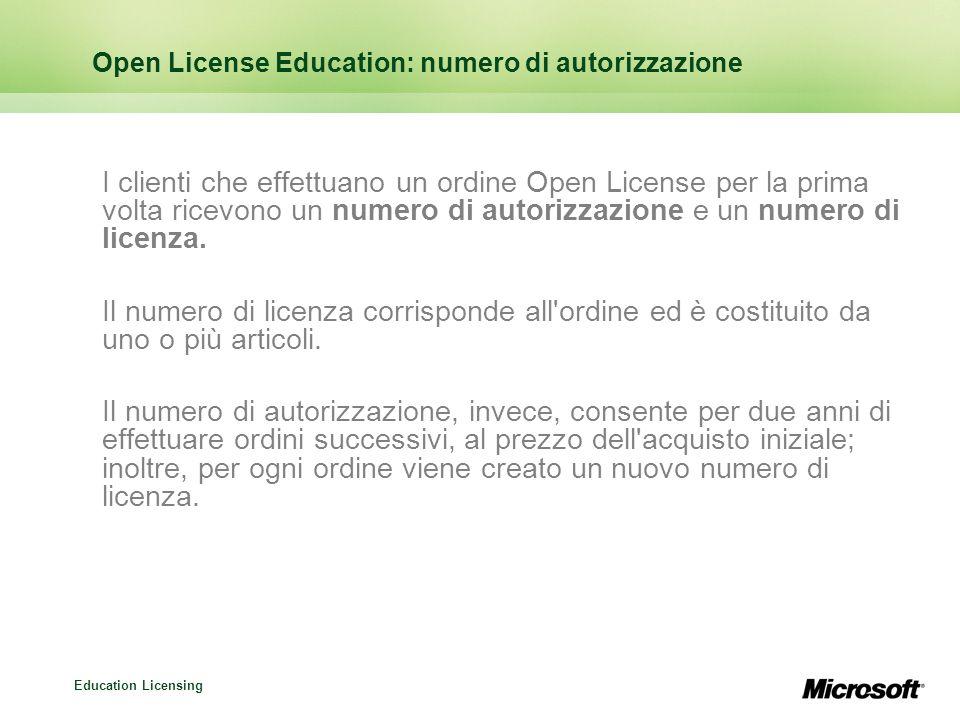 Open License Education: numero di autorizzazione